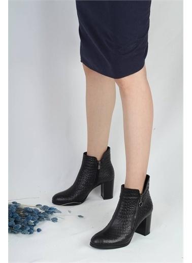 Modabuymus Modabuymus Hakiki Deri Fermuarlı  Krokodil Topuklu Bot - Pretty Siyah